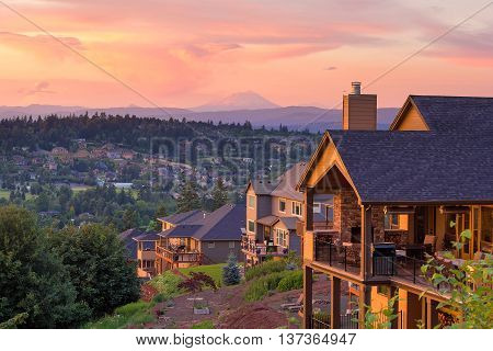Sunset View with Mount St Helens from deck of luxury homes in Happy Valley Oregon in Clackamas County