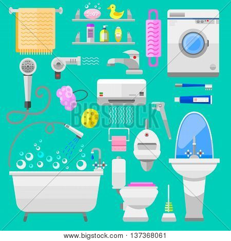 Bathroom icons toilet symbols vector illustration. Bathroom symbols water icon and hygiene collection bathroom symbols. Faucet room clean bathroom symbols.