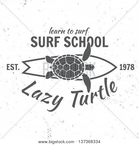 Surf School Concept.vector Summer Surfing Retro Badge. Surfer School Emblem, Outdoors Banner, Vintag
