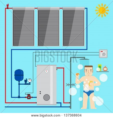 Solar Water Heater System And Man In The Bathroom Taking A Shower. Flat Icon For Web Design And Appl