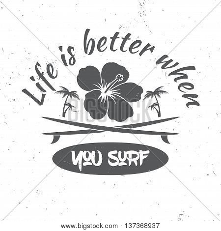 Surf Board Hire Concept. Vector Summer Surfing Retro Badge. Surfing Concept For Shirt Or Logo, Print