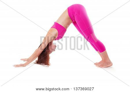 Woman Adho Mukha Svanasana, Downward-facing Dog Yoga Pose Side View