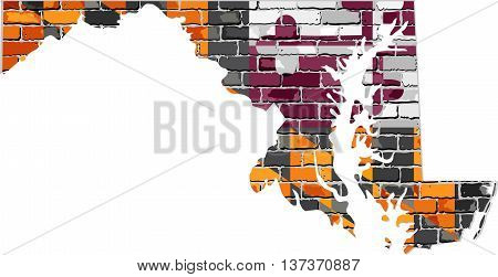 Maryland map on a brick wall - Illustration,   The state of Maryland map with flag inside,  Grunge map and flag of Maryland on a brick wall,  Maryland flag in brick style