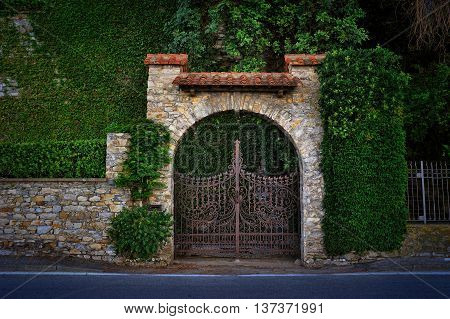 Old gate and brick wall with ivy in Ligure Italy