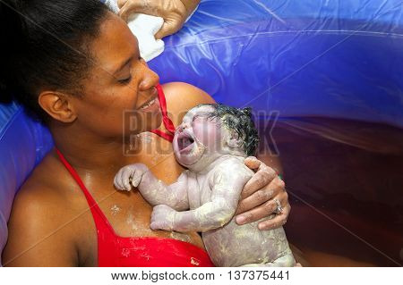 An African American woman hold her screaming newborn baby girl in a birthing pool right after delivery. The baby is covered in vernix.