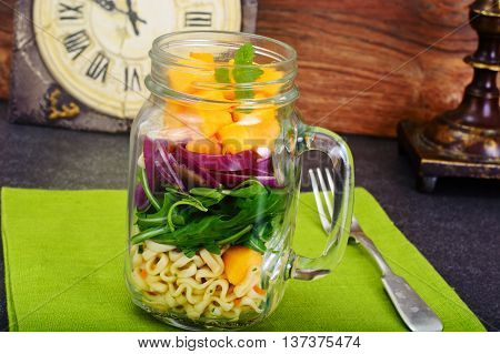 Pasta with Pumpkin, Arugula and Red Onion Studio Photo