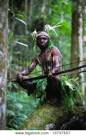 Headhunter. The warior of a Papuan tribe of Yafi in traditional clothes ornaments and a coloring.