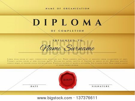 Template certificate vector photo free trial bigstock template certificate design in gold color award certificate in flat style diploma frame awarding yadclub Images