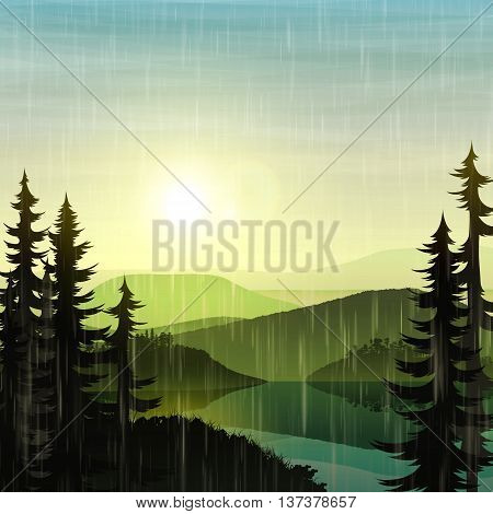 Nature and landscape Summer landscape nature cloudy with rain. Landscape mountain forest and lake. Tree near lake at foot of the mountains. Beautiful natural landscape. Mountain forests and rivers.
