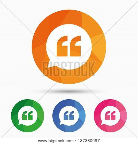 Quote sign icon. Quotation mark in speech bubble symbol. Double quotes. Triangular low poly button with flat icon. Vector poster