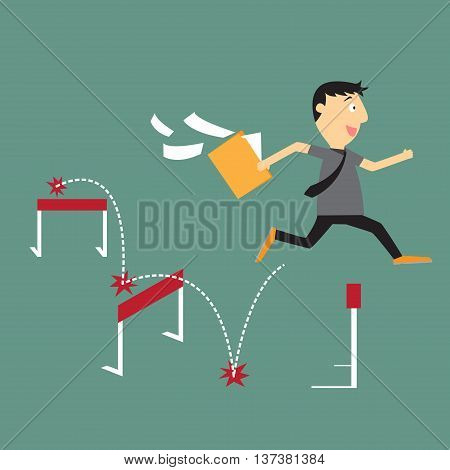 Businessman run with jumping over hurdle business competition concept vector