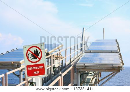 Offshore construction platform for production oil and gas, Oil and gas industry and hard work, Production platform and operation process by manual and auto function. restricted area or danger area.