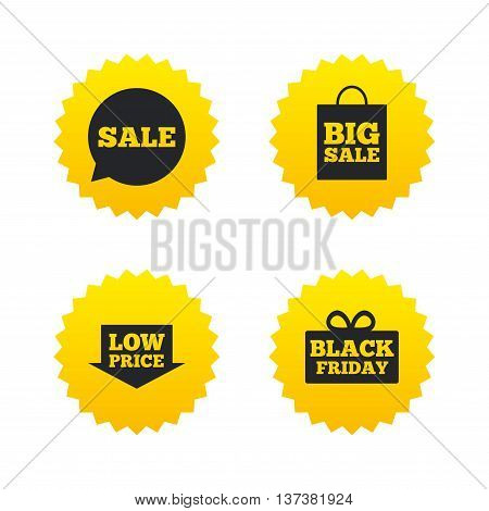 Sale speech bubble icon. Black friday gift box symbol. Big sale shopping bag. Low price arrow sign. Yellow stars labels with flat icons. Vector