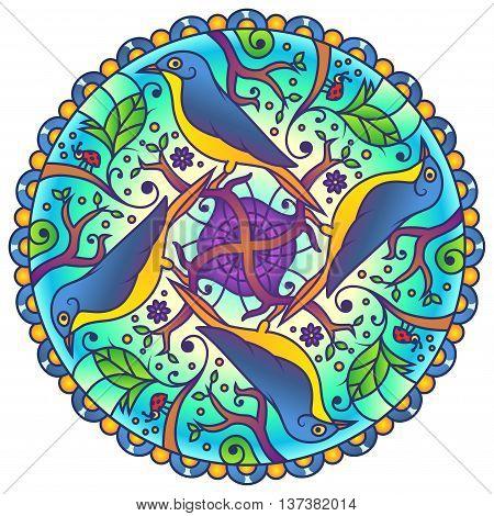Blue Bird in Nature Colorful Round Mandala Ornament