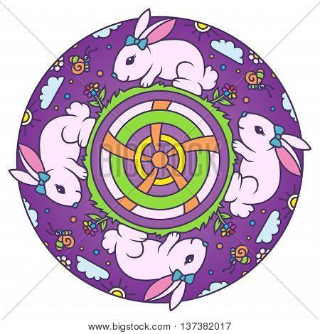 Cute Little Bunny Colorful Round Mandala Ornament