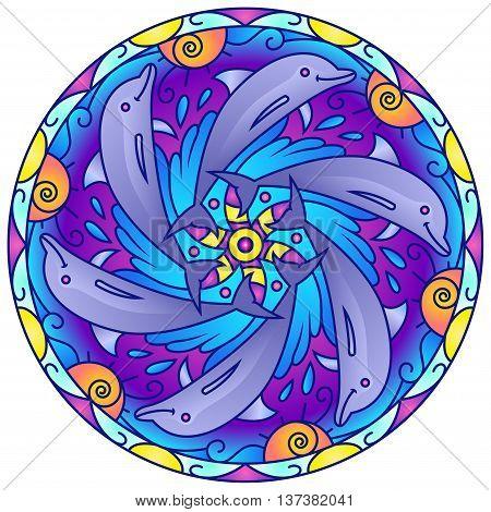 Dolphin Swimming Around  Colorful Round Mandala Ornament