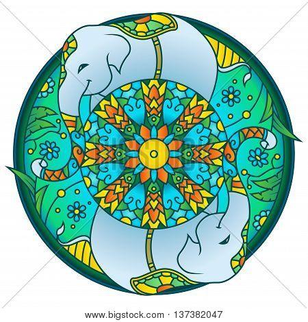 Cute Elephant Picking Flower Colorful Round Mandala Ornament