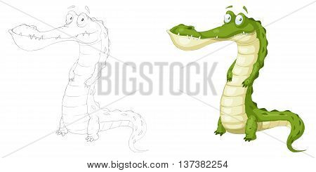 Green Crocodile. Coloring Book, Outline Sketch, Animal Mascot, Game Character Design isolated on White Background