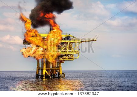 Offshore Oil and Gas Fire Case or Emergency Case, Firefighter Operation to Control Fire on Oil and Gas Production Platform, Offshore Worst Case and can't control fire, Danger of Oil and Gas Industry.