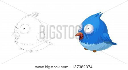 Smiling Cute Fat Bird. Coloring Book, Outline Sketch, Animal Mascot, Game Character Design isolated on White Background