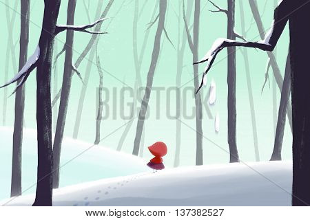 Creative Illustration and Innovative Art: Winter Forest and Little Girl in Red Hood. Realistic Fantastic Cartoon Style Artwork Scene, Wallpaper, Story Background, Card Design