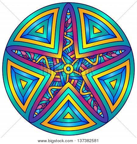 Decorative Starfish inside Colorful Round Mandala Ornament
