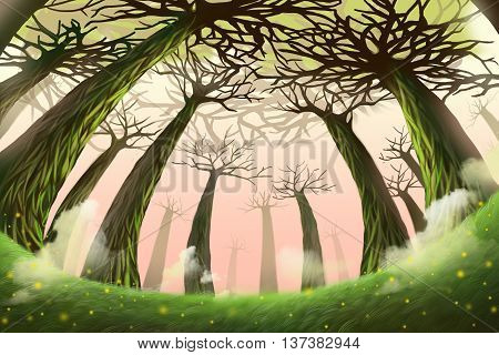 Creative Illustration and Innovative Art: Mystery Forest. Realistic Fantastic Cartoon Style Artwork Scene, Wallpaper, Story Background, Card Design