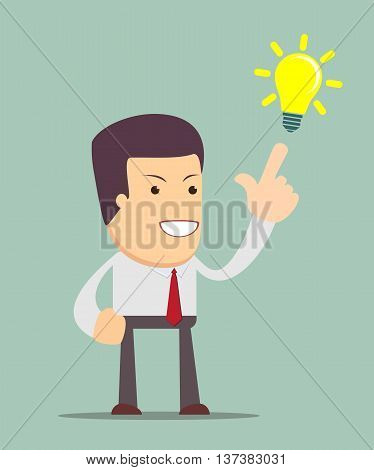 Symbol of having a Big idea with businessman pointing at light bulb. Stock vector illustration