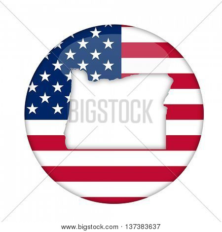 Oregon state of America badge isolated on a white background.