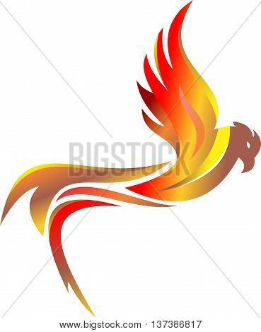 stock logo flaming eagle flying in white background