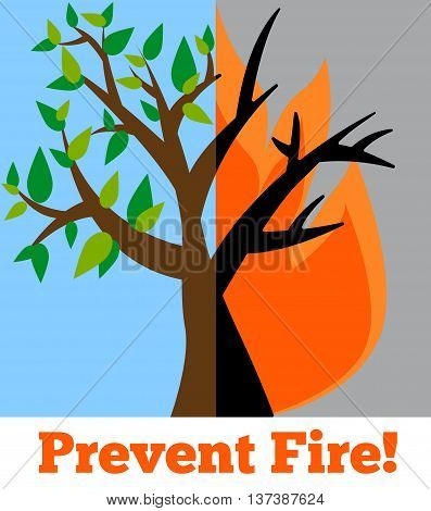Prevent wildfire banner. Stop fire vector image. Wildfire alert