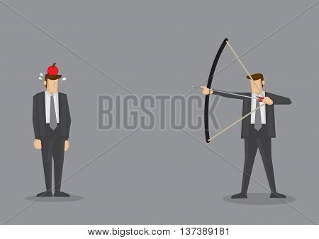 Business executive holding bow and arrow aiming to shoot at apple on another man's head. Vector illustration for business concept isolated on grey background.