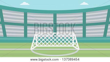 Background of soccer stadium. Soccer stadium with gate. Soccer field. Soccer arena. Soccer stadium vector flat design illustration. Horizontla layout.