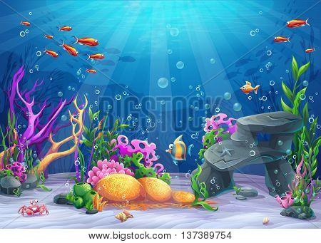 Marine Life Landscape - the ocean and underwater world with different inhabitants. For print create videos or web graphic design user interface card poster.