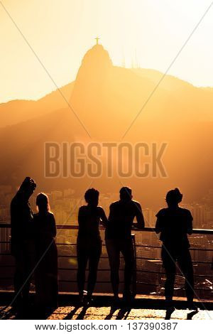Tourists Silhouettes On A Pao Do Asucar