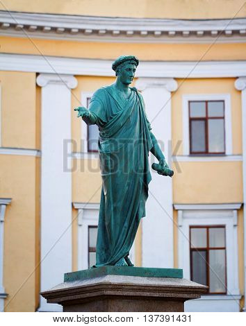 Statue of Cardinal Richelieu in the center of Odessa - one of the most popular symbols of the city Ukraine