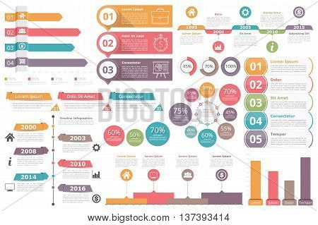 Infographic elements - bar graphs, timelines, circle diagram, flowchart, objects with percents, numbers text and icons, business infographics