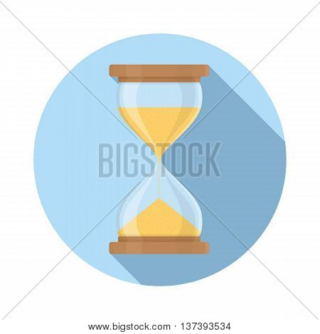Transparent sandglass icon, time hourglass, sandclock, flat design, vector eps10 illustration