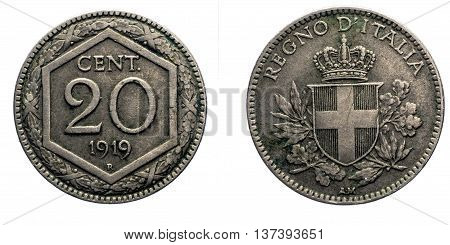 Twenty 20 cents Lire Silver Coin 1919 Exagon on front and Crown Savoy Shield on back, Vittorio Emanuele III Kingdom of Italy isolated on white, Mint of rome