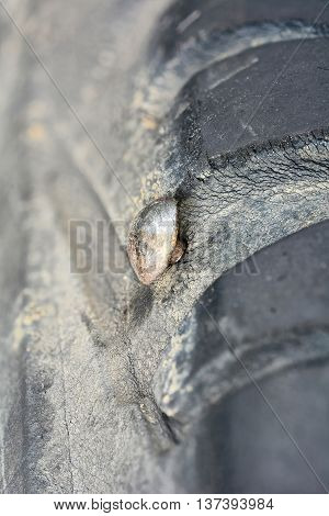 close up of screw nail puncturing car tire (car accident)