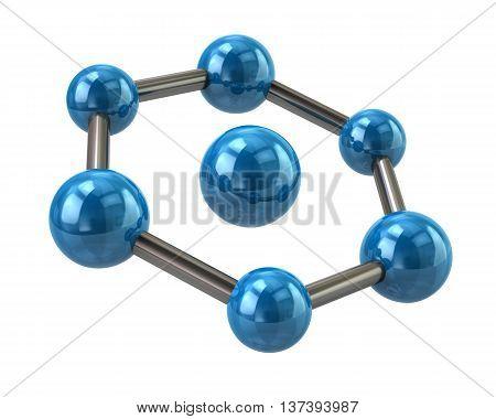 3D Illustration Of Blue Molecule Icon