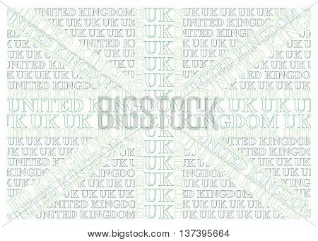 Green United Kingdom flag constructed from UK text representing environmental issues isolated on white background