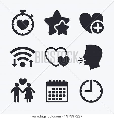 Valentine day love icons. Love heart timer symbol. Couple lovers sign. Add new love relationship. Wifi internet, favorite stars, calendar and clock. Talking head. Vector