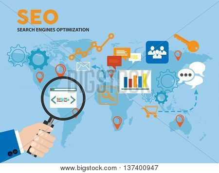 A men's hand holding a magnifying glass; seo and sem concept