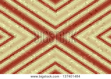 Illustration of a red and vanilla colored mosaic x-pattern