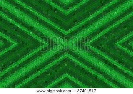 Illustration of dark green and light green mosaic cross
