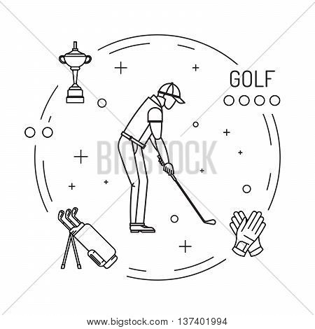 Set of elements for the game of Golf is painted in outline style. Putter for Golf.