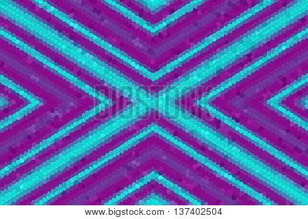 Illustration of a purple and cyan mosaic cross