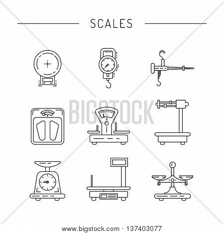 Set of scales for weighing things products people painted in the technique outline. Linear icons of scales.