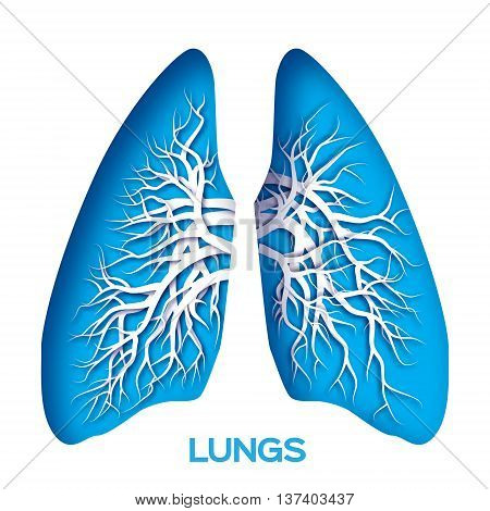 Lungs origami. Blue Paper cut Human Lungs anatomy with bronchial tree. Applique Vector design illustration.